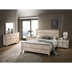 Looking for Contemporary White Wash Finish Bedroom Set Queen Beige Modern Wood 5 Piece ? Check out our picks for the Contemporary White Wash Finish Bedroom Set Queen Beige Modern Wood 5 Piece from the popular stores - all in one. White Washed Bedroom Furniture, White Bedroom Set, 5 Piece Bedroom Set, King Bedroom Sets, Wood Bedroom, Bedroom Furniture Sets, White Furniture, White Rustic Bedroom, Bedroom Beach
