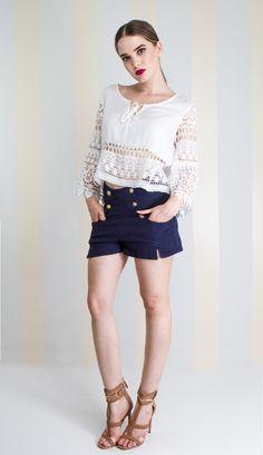 BATA MUSSELINE OFF WHITE DETALHE RENDA FRENTE MANGA - BL22512-99   Skazi e Skclub, Moda feminina, roupa casual, vestidos, saias, mulher moderna