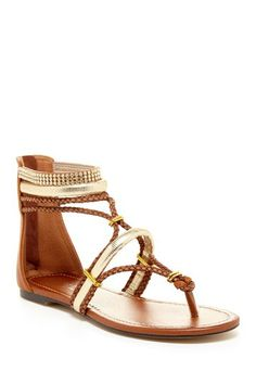 Gold and leather gladiator sandal