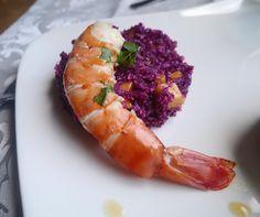Les délices de lauriane: Salade de chou rouge aux fruits exotiques et ses crevettes géantes