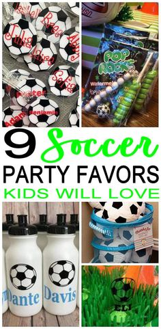 COOL Soccer party favors! Amazing party favor ideas for a Soccer theme party (birthday, end or season parties, sports party, classroom party). DIY ideas, party favor bags, candy, treat / goodie bags and much more. Check out the best Soccer party favors.