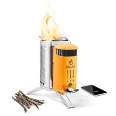 Turn fire into electricity and charge phones, headlamps, and lights with this USB wood-burning stove. Smokeless flames cook meals and boil water in minutes.