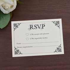 Sarah Alexis Stationery: Vintage Script RSVP Card in Black and Cream