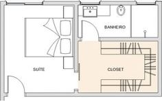 projeto de pequeno closet para ficar entre banheiro e suíte