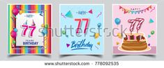 Vector Sets of 77 Years Birthday invitation, greeting card Design, with confetti and balloons, birthday cake, Colorful Vector template Elements for your Birthday Celebration Party.