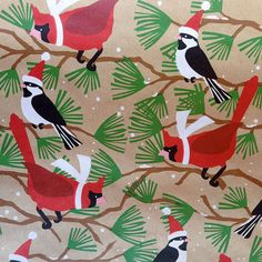 Snowbirds Kraft Wrapping Paper, 1 Roll. Christmas Gift Wrap, Holiday wrap