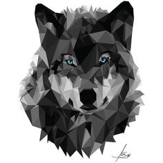 Geometric Wolf by anaba3 ❤ liked on Polyvore featuring home, home decor and geometric home decor