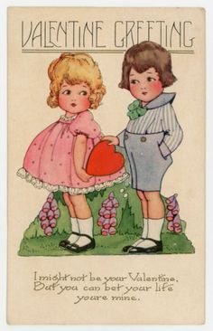 Valentine Greeting - Cute Boy & Girl - c. 1920s Unused Whitney Made Postcard