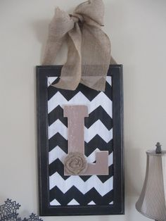 Chevron sign with customized letter from repurposed wood cabinet door. Cabinet Door Crafts, Wood Cabinet Doors, Wood Front Doors, Cabinet Knobs, Repurposed Wood, Repurposed Furniture, Chevron Signs, Chevron Letter, For Elise