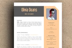 The Olivia Resume Pack by LeResume on Creative Market