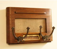 #upcycling - Cut up and refinished Sentinal radio, added some old coak hooks.