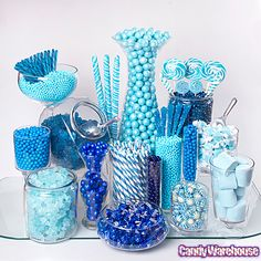 Ideas Baby Shower Food Blue Candy Table For 2019 Blue Party Decorations, Baby Shower Decorations, Schneemann Party, Blue Candy Buffet, Lolly Buffet, Candy Buffet Tables, Bar A Bonbon, Denim And Diamonds, Sweet 16 Parties