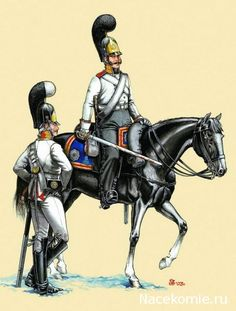 Russian; Life Guards Cavalry 1803-08, NCO in Full Dress and Trooper in service dress. Sous officier et soldat des gardes à cheval