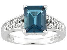 2.66ctw Emerald Barehipani Topaz And Round Blue And White Diamond Accent Sterling Silver Ring
