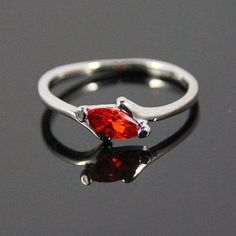 ~♥ Ruby Red Silver Ring Size 9 ♥~