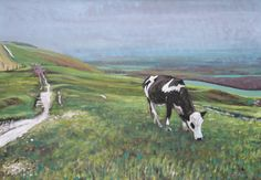 Cow, South Downs Way, Fulking Oil Painting On Canvas, Cow, Paintings, Artist, Painting Art, Cattle, Painting, Paint, Draw