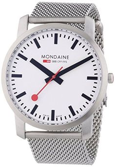 Women's Wrist Watches - Mondaine Unisex A6383035016SBM Simply Elegant SilverTone Stainless Steel Watch >>> Click on the image for additional details.