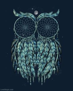 Dreamcatcher owl animals night art dreams owl