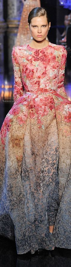 Elie Saab Fall 2014-2015 Couture. The colors somehow magically fit. Gorgeous.