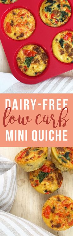 Minus the meat haha Mini Quiche: tiny, healthy, portable snack or breakfast option (dairy free, gluten free) Dairy Free Low Carb, Dairy Free Recipes, Paleo Recipes, Low Carb Recipes, Real Food Recipes, Cooking Recipes, Delicious Recipes, Tasty, Paleo Breakfast