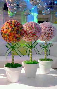 Nice for candy land theme party or baby Candy bouquet Pins you might like - Inbox - Yahoo MailGreat for candyland party decorCenterpieces for each tableLove this for the Christmas party and our wedding Deco Buffet, Candy Trees, Candy Topiary, Topiary Trees, Sweet Trees, Candy Bouquet, Candy Table, Candy Buffet Tables, Candy Party