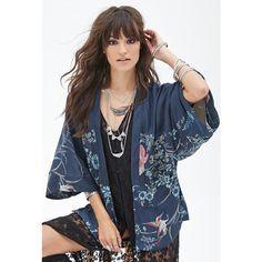 Forever 21 Women's  Bird Print Kimono Cardigan (£25) ❤ liked on Polyvore featuring tops, cardigans, kimono sleeve cardigan, kimono sleeve top, dolman-sleeve cardigan, dolman sleeve tops and floral cardigan kimono