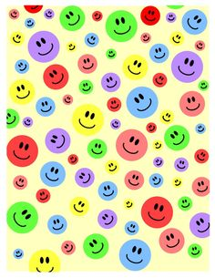 Happy Face Printable I made for scrapbooking and paper crafting Smiles in different colors, love it. Print Wallpaper, Pattern Wallpaper, Iphone Wallpaper, Paper Background, Background Patterns, Cute Smiley Face, Smiley Faces, Gift Wrapper, Free Graphics