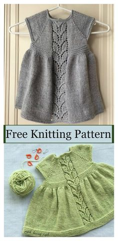 Leaf Love Baby Dress Free Knitting Pattern #freeknittingpattern #dresspattern