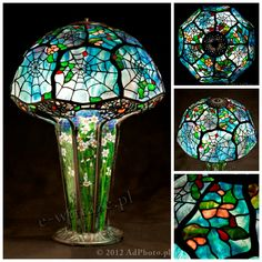 Wieniawa Piasecki lamp, inspired by L.C. Tiffany Cobweb #tiffany #lamp www.e-witraze.pl #manmade #stainedglass #handcrafted #unique #metalware #louis #comfort #glass #flower  #tablelamp www.e-witraze.pl #poland #design #art #light #cobweb #web #nature