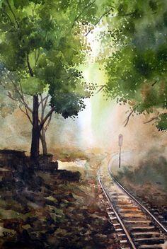 Indian Artist- Jitendra Sule's Watercolour Paintings : Infinity