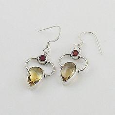 Citrine & Garnet Sterling Silver Earrings – Keja Designs Jewelry