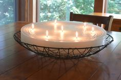 This elegant candle lights up any room with the rustic white color and lilac scent.