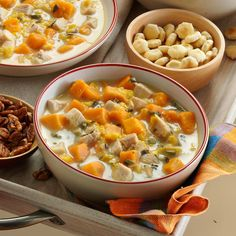 Turkey-Sweet Potato Soup Recipe -A batch of this soup brings the nostalgic flavors and heartwarming feel of the holidays at any time of year. When I have time to slow-cook it, my whole house smells cozy. —Radine Kellogg, Fairview, IL