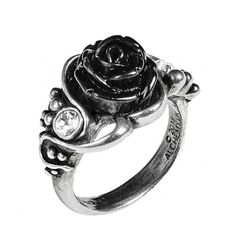 Bacchanal Rose Ring by Alchemy Gothic ($21) ❤ liked on Polyvore featuring jewelry, rings, rose jewelry, goth jewelry, rose ring, gothic jewellery and gothic rings