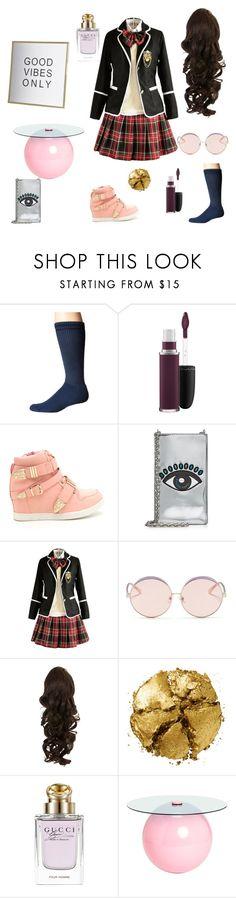 """School Girl"" by cutefangirl-2003 ❤ liked on Polyvore featuring Thorlos, MAC Cosmetics, Kenzo, N°21, Pat McGrath, Gucci, school, uniform and girl"