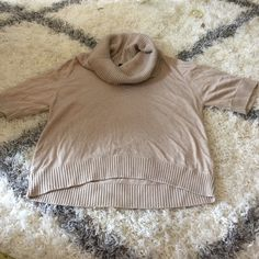 short sleeve sweater Shirt sleeves, cowl neck, high low hem. Front is 19 inches long, back is 22 inches long. Central Park West Sweaters Cowl & Turtlenecks