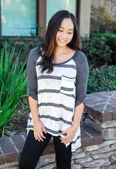 Striped Contrast Sleeve Baseball Sweater Top #asosmarketplace #loverelished