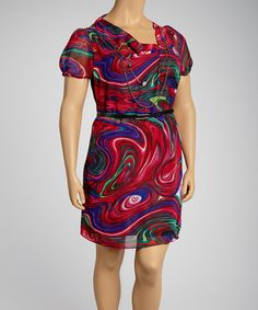 Take a look at this Fuchsia Watercolor Belted Drape Dress - Plus by Madison Paige on #zulily today!