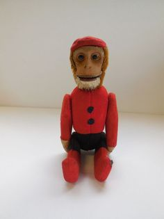 Vintage Schuco Yes No Mohair Bellhop Monkey 8