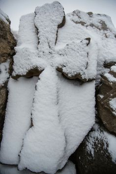 Armenian stone cross at Dvin, covered in snow.