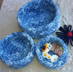 Nesting Bowls Crochet bowls Storage Denim Blue Multi by GrammaLeas, $15.00