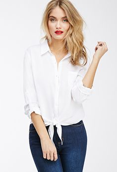 Knot-Front Utility Shirt | FOREVER21 - 2049258976