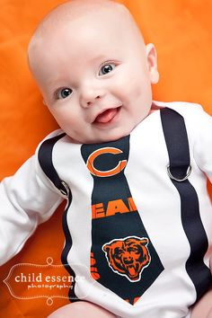 NFL Chicago Bears Inspired Navy Blue & Orange Tie and Suspenders Onesie