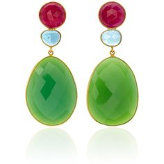 Bahina Topaz and Green Agate Earrings (110.420 RUB) ❤ liked on Polyvore featuring jewelry, earrings, green, topaz jewelry, earring jewelry, green agate jewelry, green agate earrings and topaz jewellery