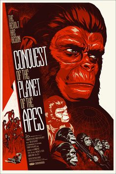 Artistic poster for the movie, 'The Conquest of the Planet of the Apes'. The colors are orange, beige, and brown, and it shows a huge image of one of the apes faces, and has smaller drawings of the other characters.