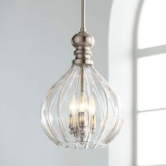 Houten Brushed Nickel Mini Pendant Chandelier 11 Wide Fluted Clear Glass Fixture for Dining Room House Foyer Kitchen Island Entryway Bedroom Living Room - Possini Euro Design Pendant Lighting Bedroom, Kitchen Pendant Lighting, Kitchen Pendants, Pendant Chandelier, Home Lighting, Mini Pendant Lights, Club Lighting, Kitchen Chandelier, Overhead Lighting