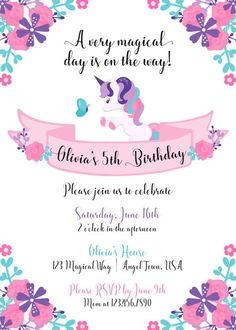 Unicorn Invitation Unicorn Birthday by SophisticatedSwan on Etsy