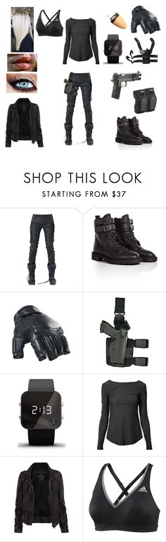 """""""Agent"""" by floriane97 ❤ liked on Polyvore featuring DEMOBAZA, Golden Goose, Swat, Holster, 1:Face, James Perse, Spy Optic, AllSaints and adidas"""