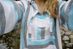 Mexican Threads Baja Drug Rug Hoodie Pullover Sweatshirt | Baja Jacket Poncho Turquoise-Grey | Boho Gypsy by OrvinApparel on Etsy https://www.etsy.com/listing/244679066/mexican-threads-baja-drug-rug-hoodie