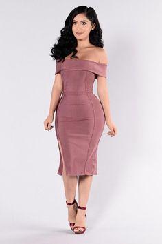 - Available in Dark Mauve - Off Shoulder Bandage Dress - Midi Length - Sleeveless - Zipper Back - Side Slit - Polyester Spandex Tight Dresses, Club Dresses, Simple Dresses, Sexy Dresses, Evening Dresses, Short Dresses, Fashion Dresses, Bandage Dresses, Look Fashion